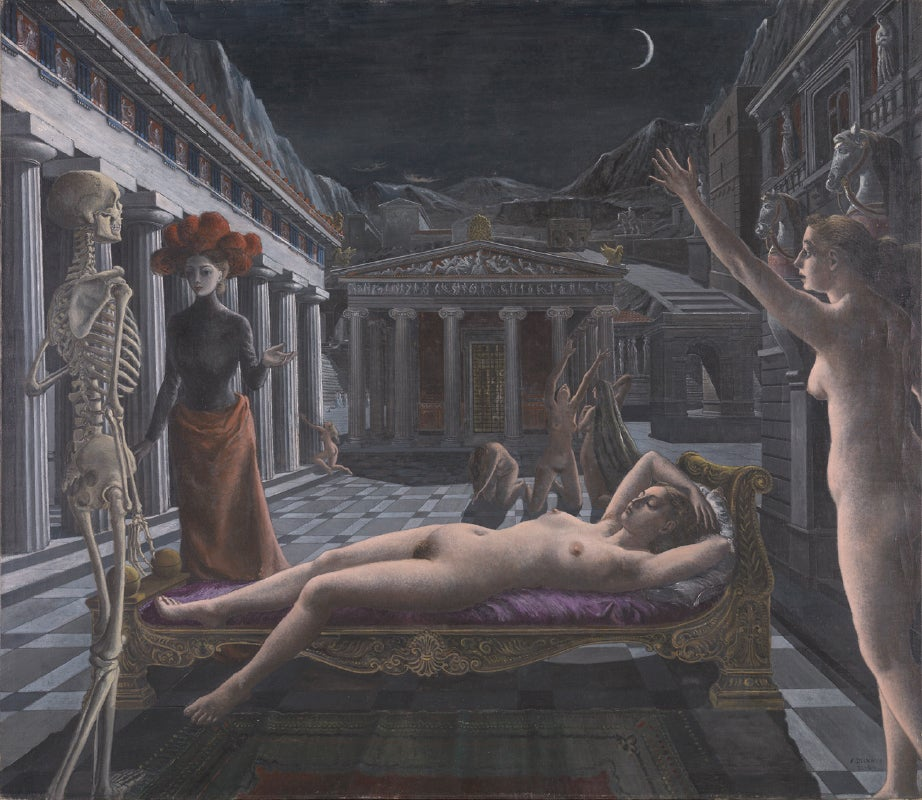 ポール・デルヴォー《眠るヴィーナス》1944年 油彩/カンヴァス Tate: Presented by Baron Urvater 1957, ©Foundation Paul Delvaux, Sint-Idesbald-SABAM Belgium / JASPAR 2017 C1528, image ©Tate, London 2017