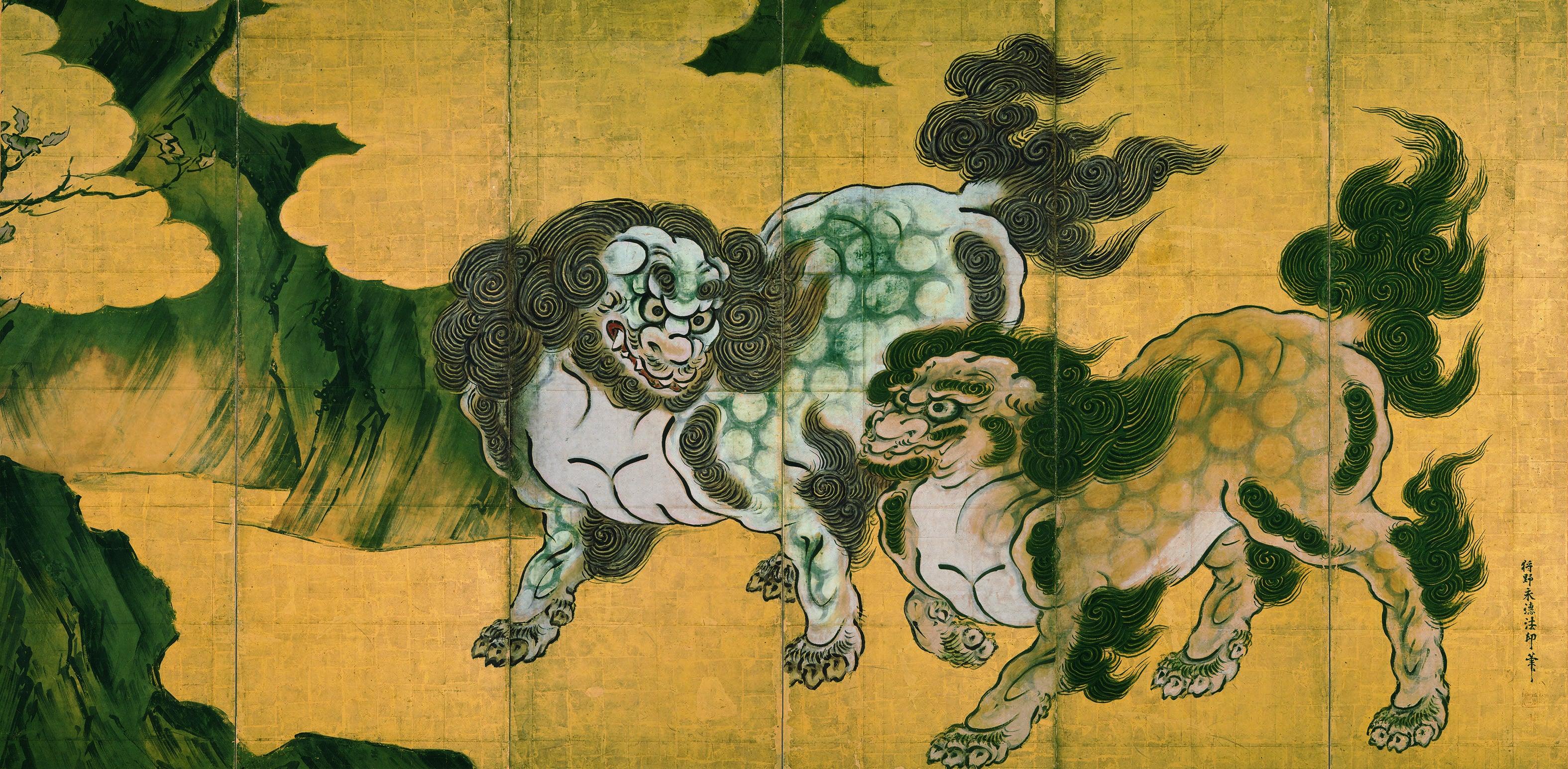 狩野永徳筆《唐獅子図屛風》